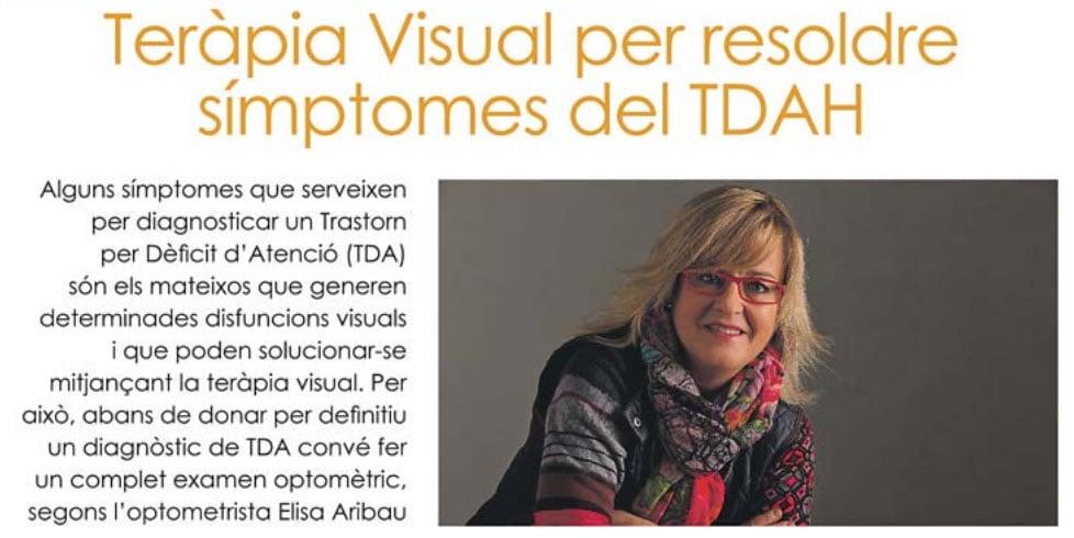 """""""Terapia Visual para resolver síntomas del TDAH"""" en el diario """"Ara"""""""
